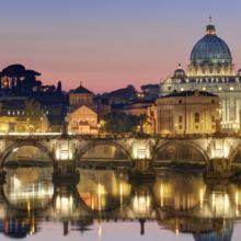 01 Dec 2011, Vatican City, Rome, Italy --- Italy, Lazio, Rome, historical center lited as World Heritage by UNESCO, Sant' Angelo bridge (Sant' Angelo ponte) above Tiber river and Saint Peter's basilica --- Image by © Arnaud Chicurel/Hemis/Corbis